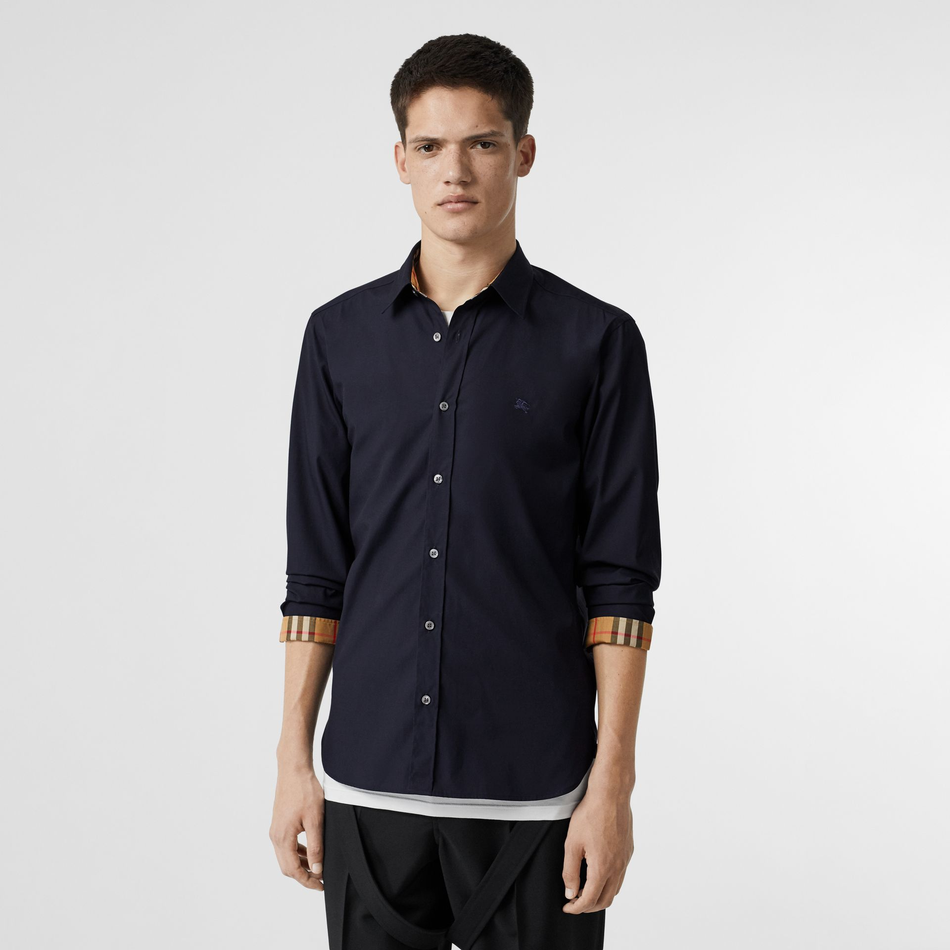 Contrast Button Stretch Cotton Shirt in Navy - Men | Burberry Australia - gallery image 5