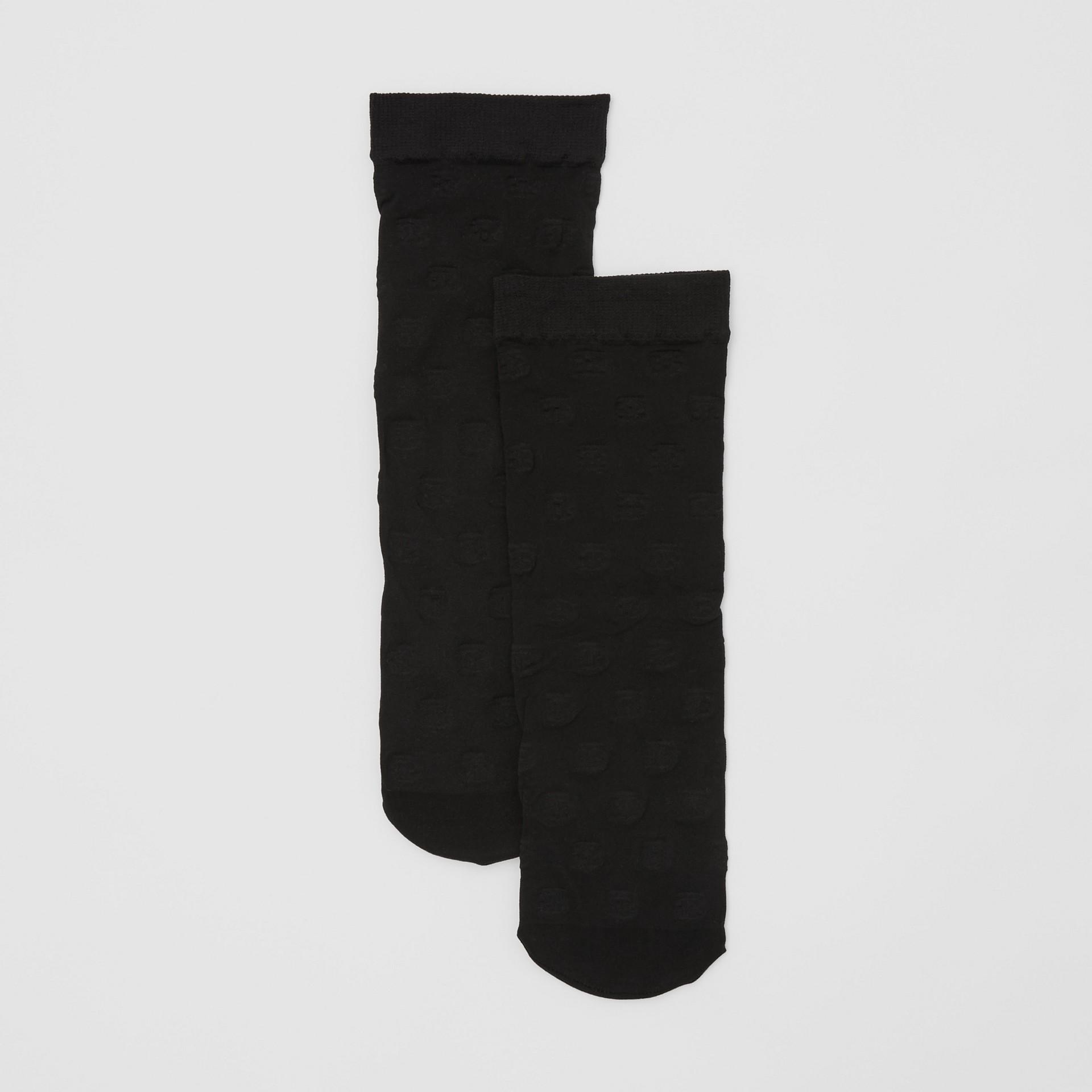Monogram Motif Socks in Black - Women | Burberry - gallery image 2