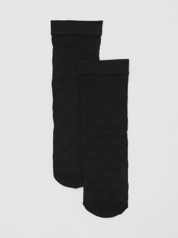Monogram Motif Socks in Black - Women | Burberry - cell image 2