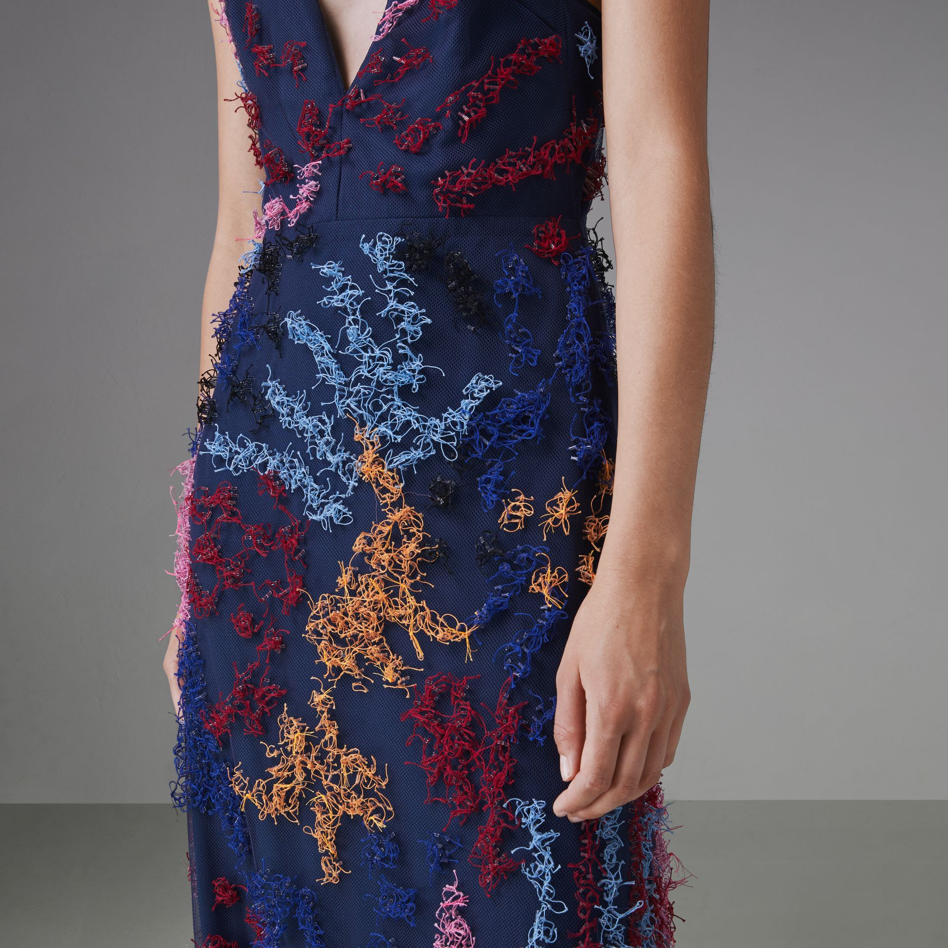 Hand-beaded Sleeveless Dress in Multi -bright Pink - Women | Burberry Singapore - gallery image 4