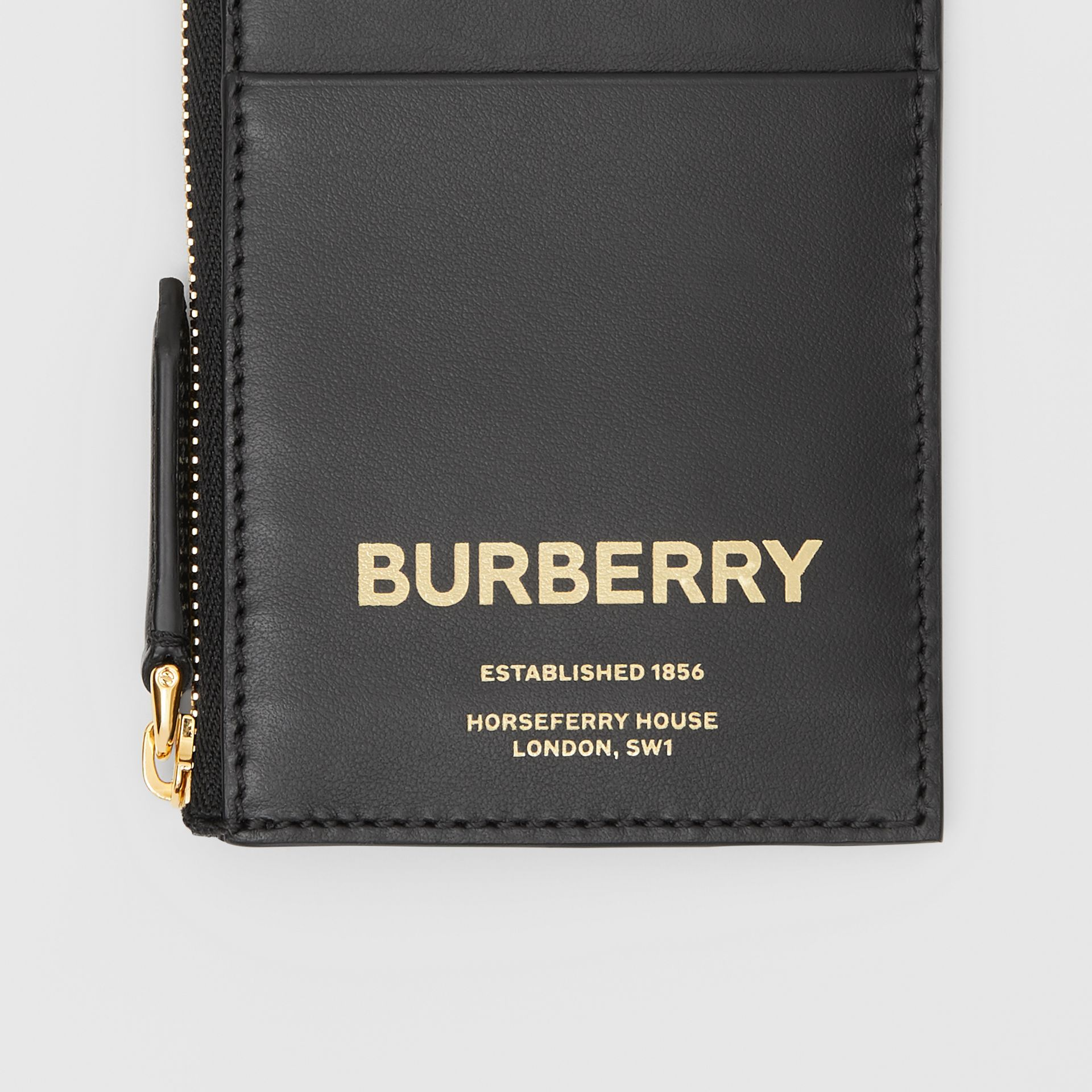 Horseferry Print Leather Zip Card Case in Black - Men | Burberry Australia - gallery image 1