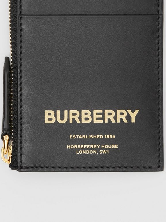 Horseferry Print Leather Zip Card Case in Black - Men | Burberry Canada - cell image 1
