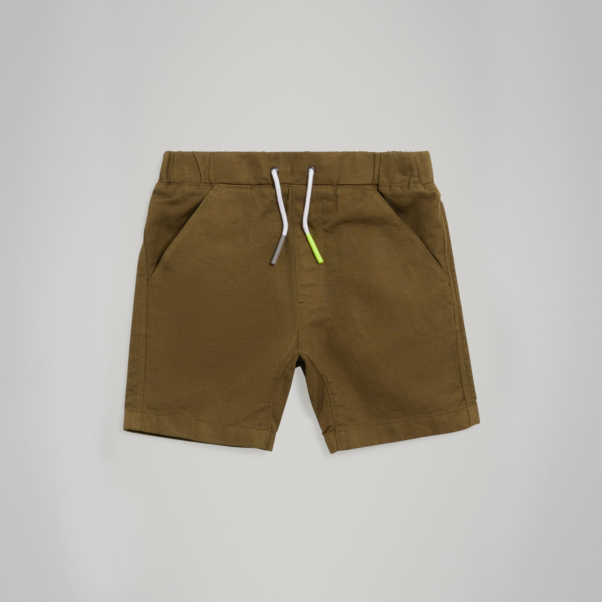Drawcord Cotton Linen Twill Shorts in Olive - Boy | Burberry - gallery image 0