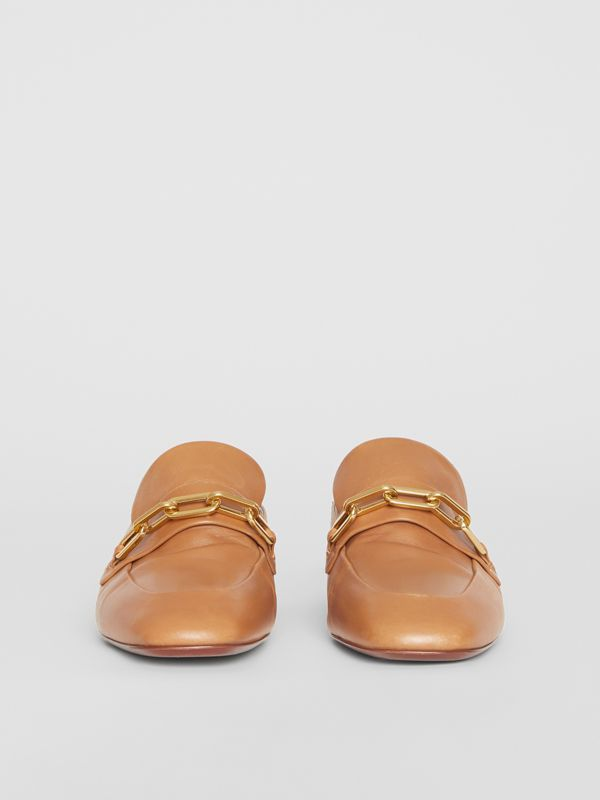 Link Detail Leather Block-heel Mules in Camel - Women | Burberry Canada - cell image 3