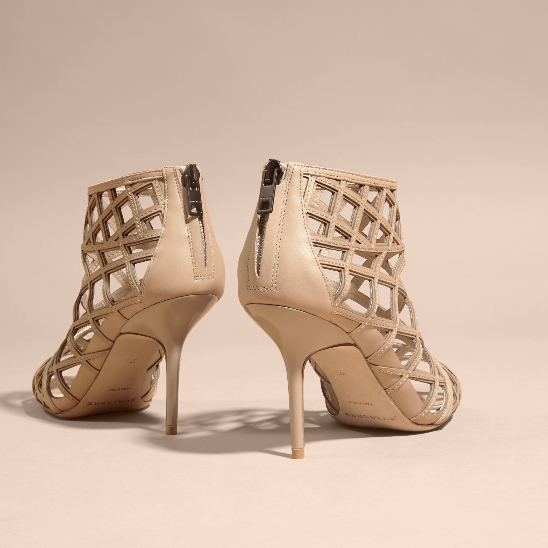 Light nude Cut-out Leather Ankle Boots Light Nude - gallery image 3