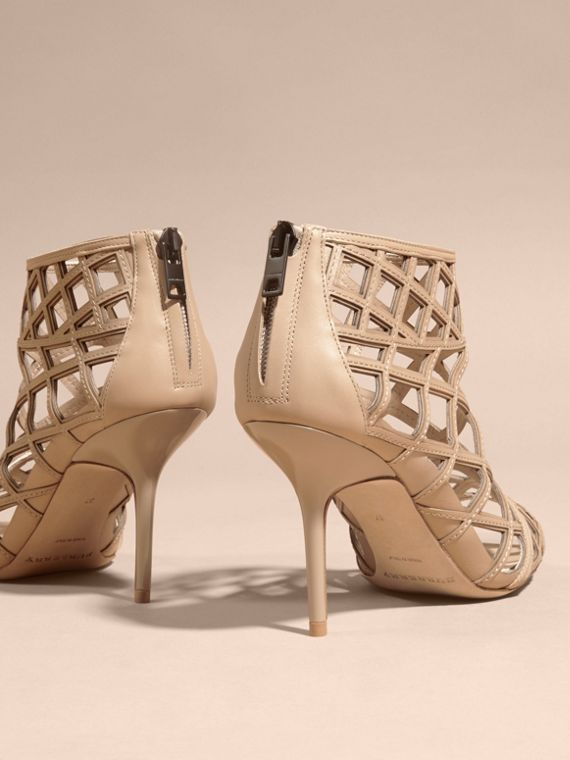 Light nude Cut-out Leather Ankle Boots Light Nude - cell image 2