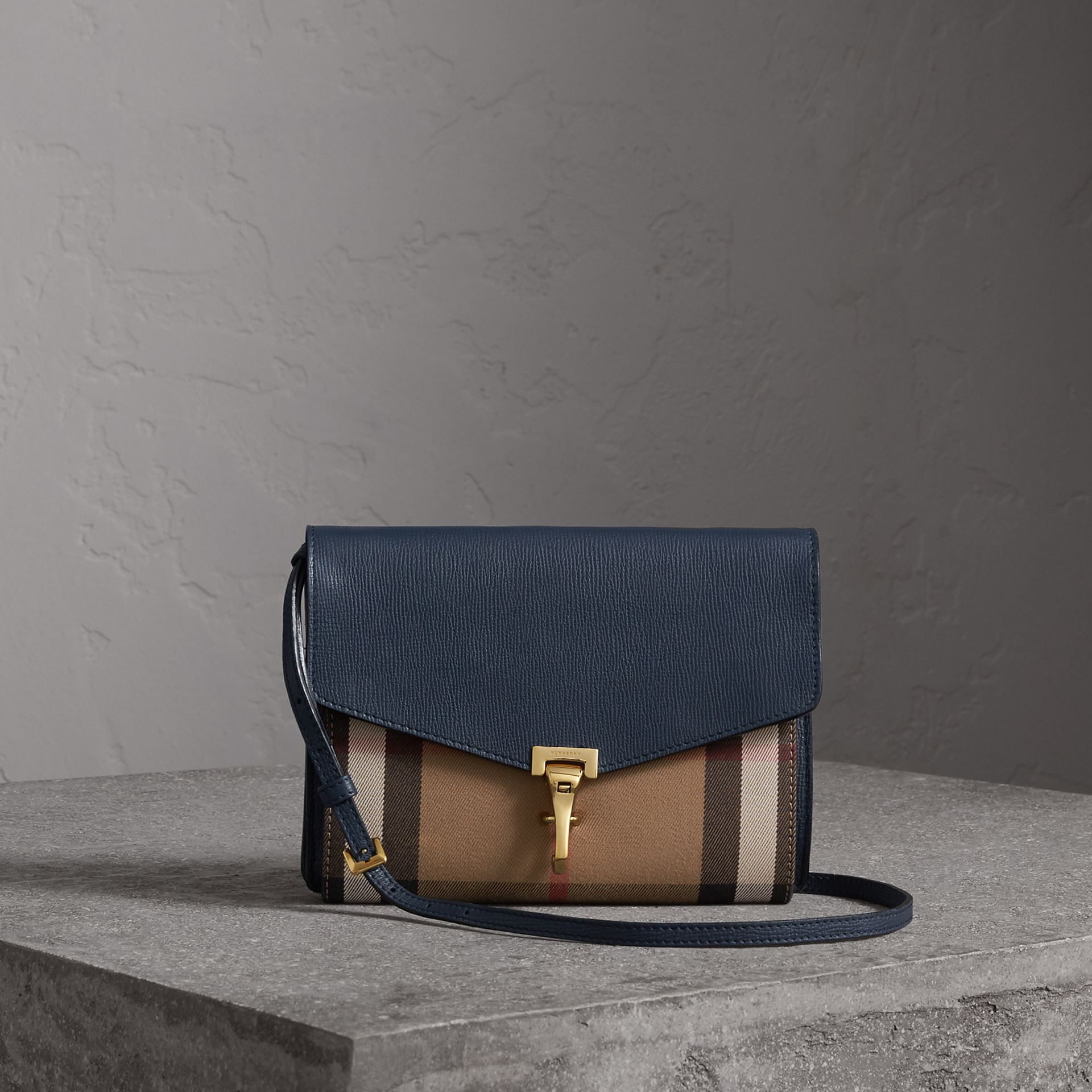 Small Leather and House Check Crossbody Bag in Ink Blue - Women | Burberry - gallery image 0