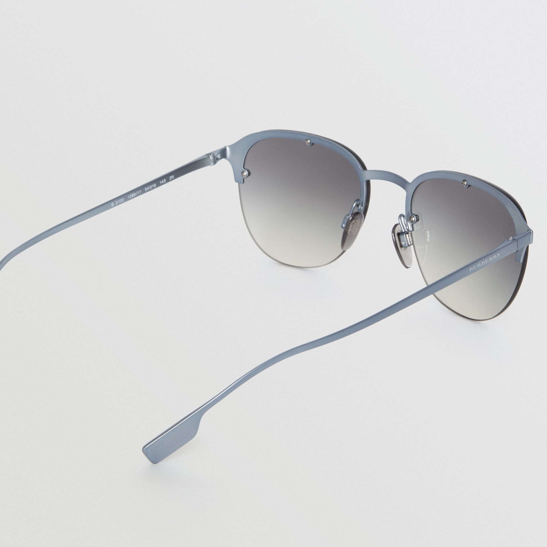Round Frame Sunglasses in Grey - Men | Burberry - gallery image 4