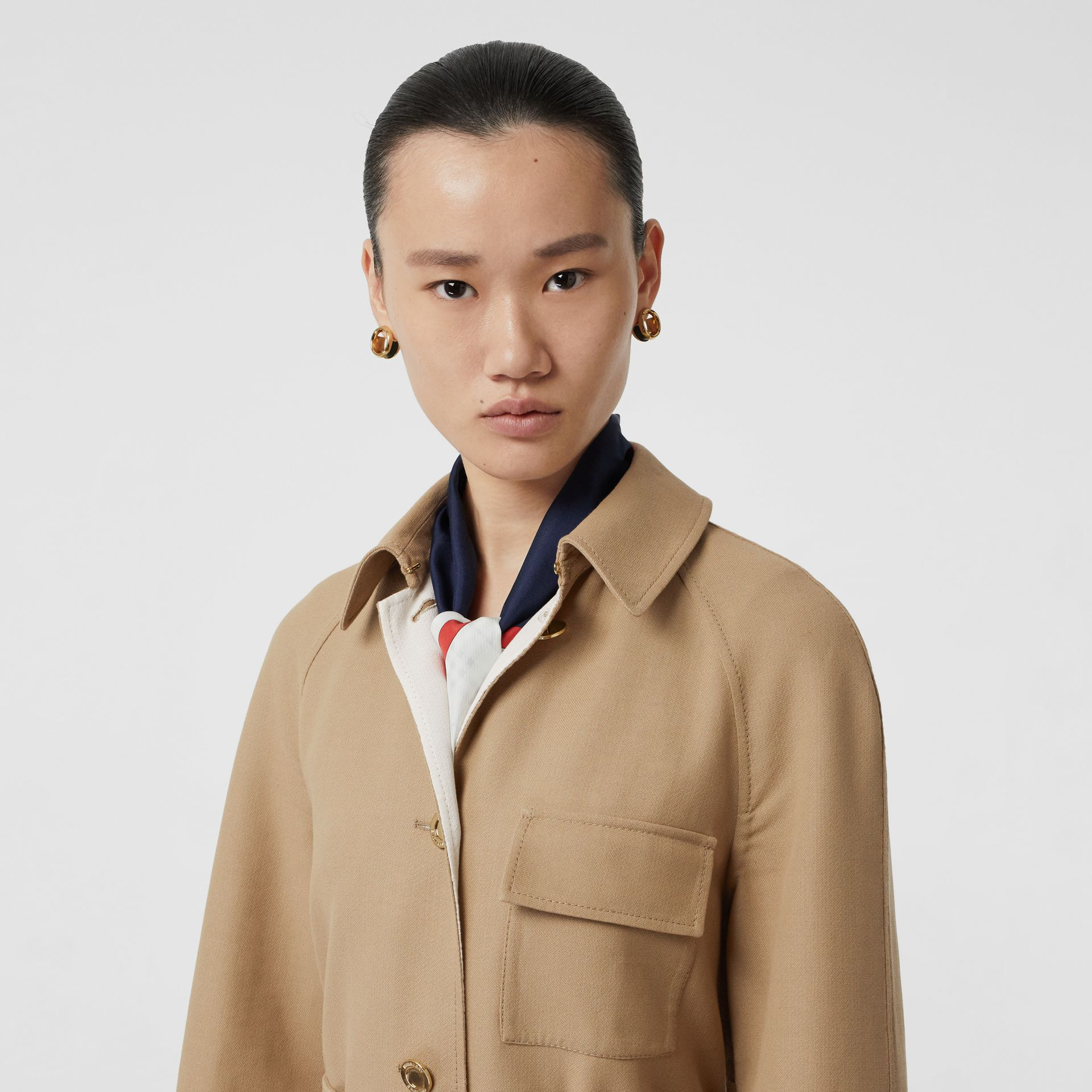 Double-faced Cotton Canvas Car Coat in Honey/white - Women | Burberry United Kingdom - gallery image 1