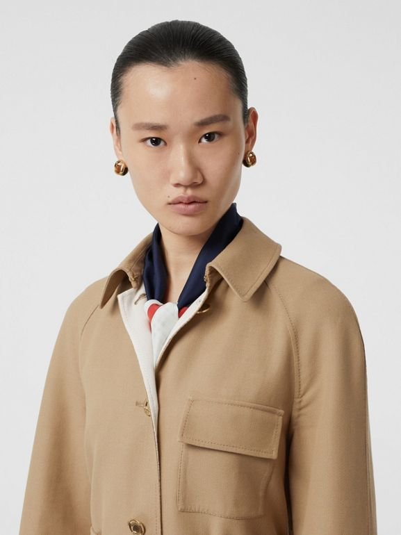 Double-faced Cotton Canvas Car Coat in Honey/white - Women | Burberry United States - cell image 1