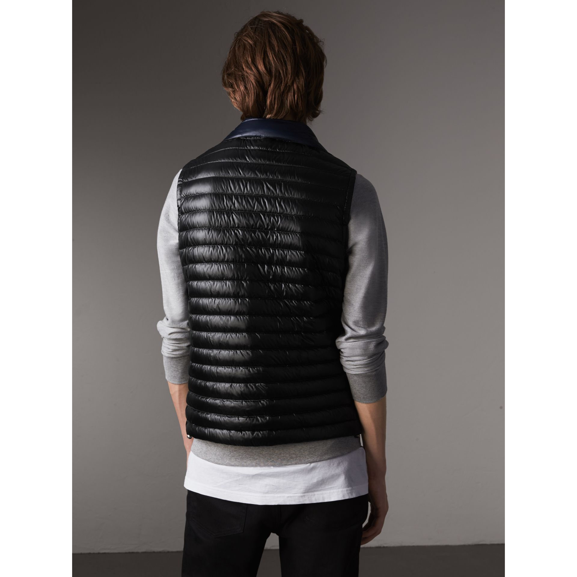 Detachable Hood Packaway Goose-down Gilet in Black - Men | Burberry - gallery image 3