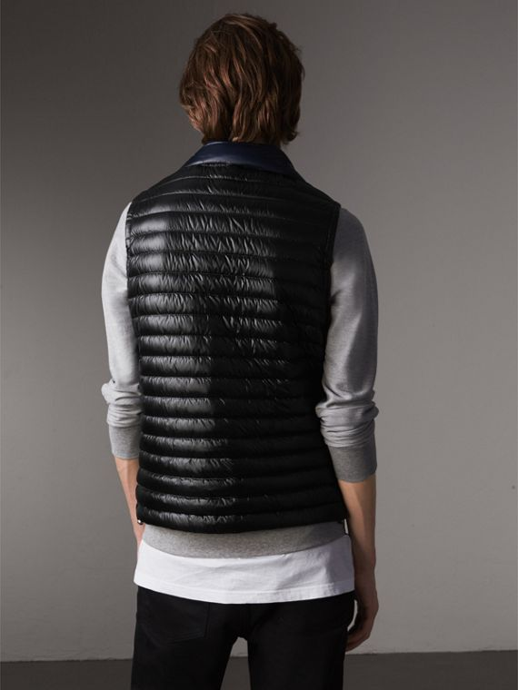 Detachable Hood Packaway Goose-down Gilet in Black - Men | Burberry - cell image 2