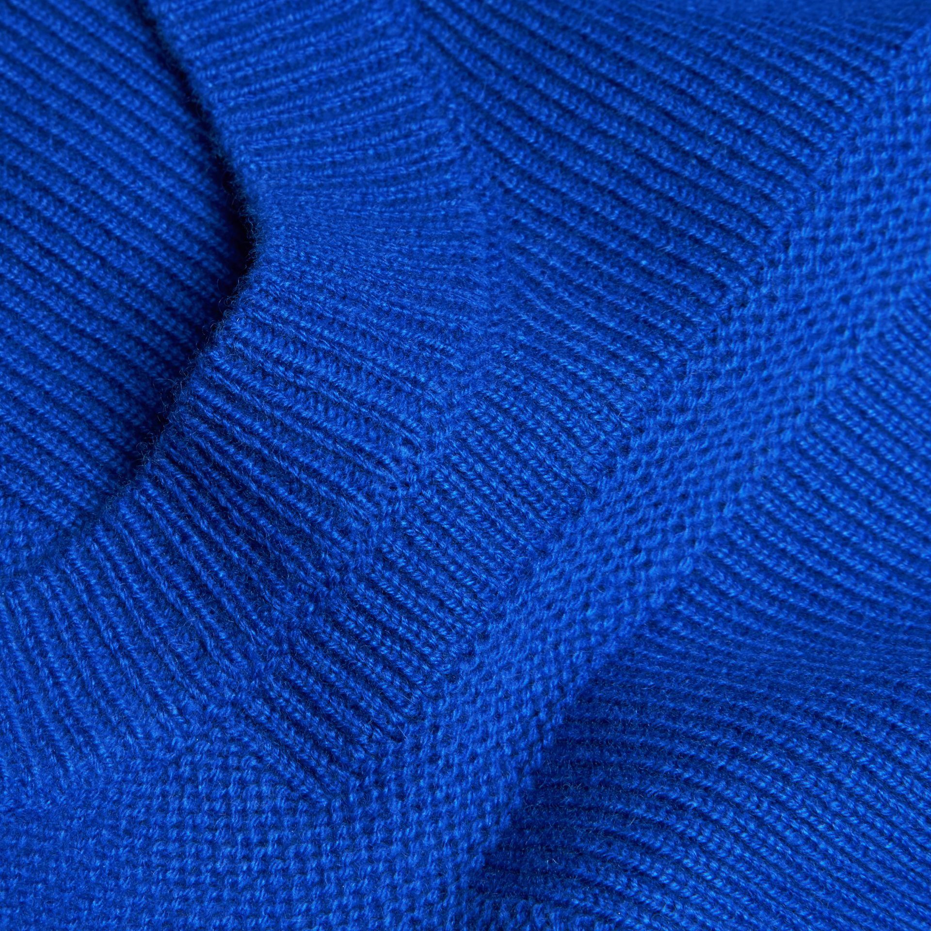 Sapphire blue Check-knit Wool Cashmere Sweater Sapphire Blue - gallery image 2