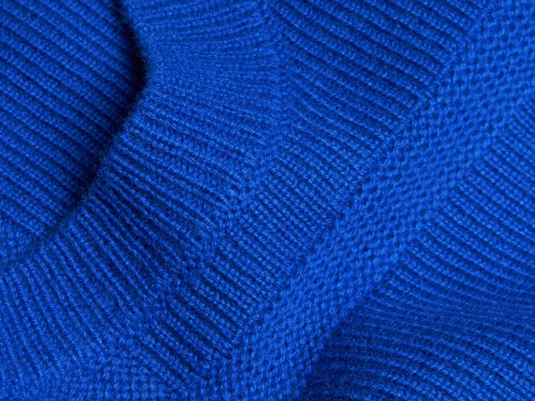 Sapphire blue Check-knit Wool Cashmere Sweater Sapphire Blue - cell image 1