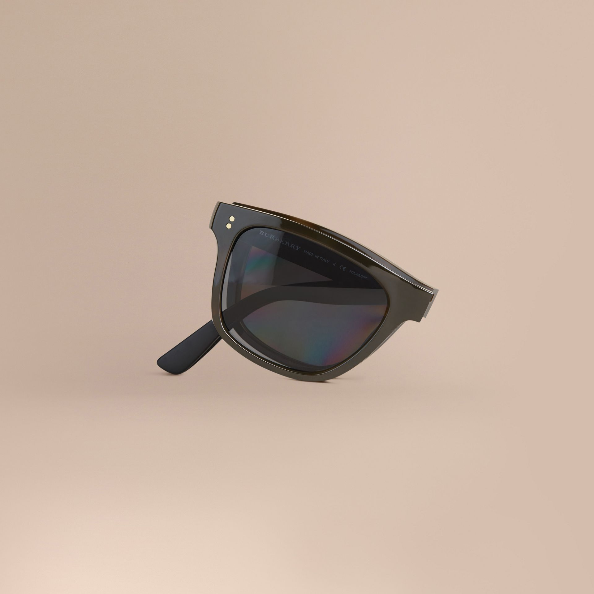Folding Rectangular Frame Polarised Sunglasses in Grey - Men | Burberry Australia - gallery image 1