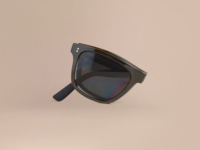 Folding Rectangular Frame Polarised Sunglasses in Grey - Men | Burberry Australia - cell image 1