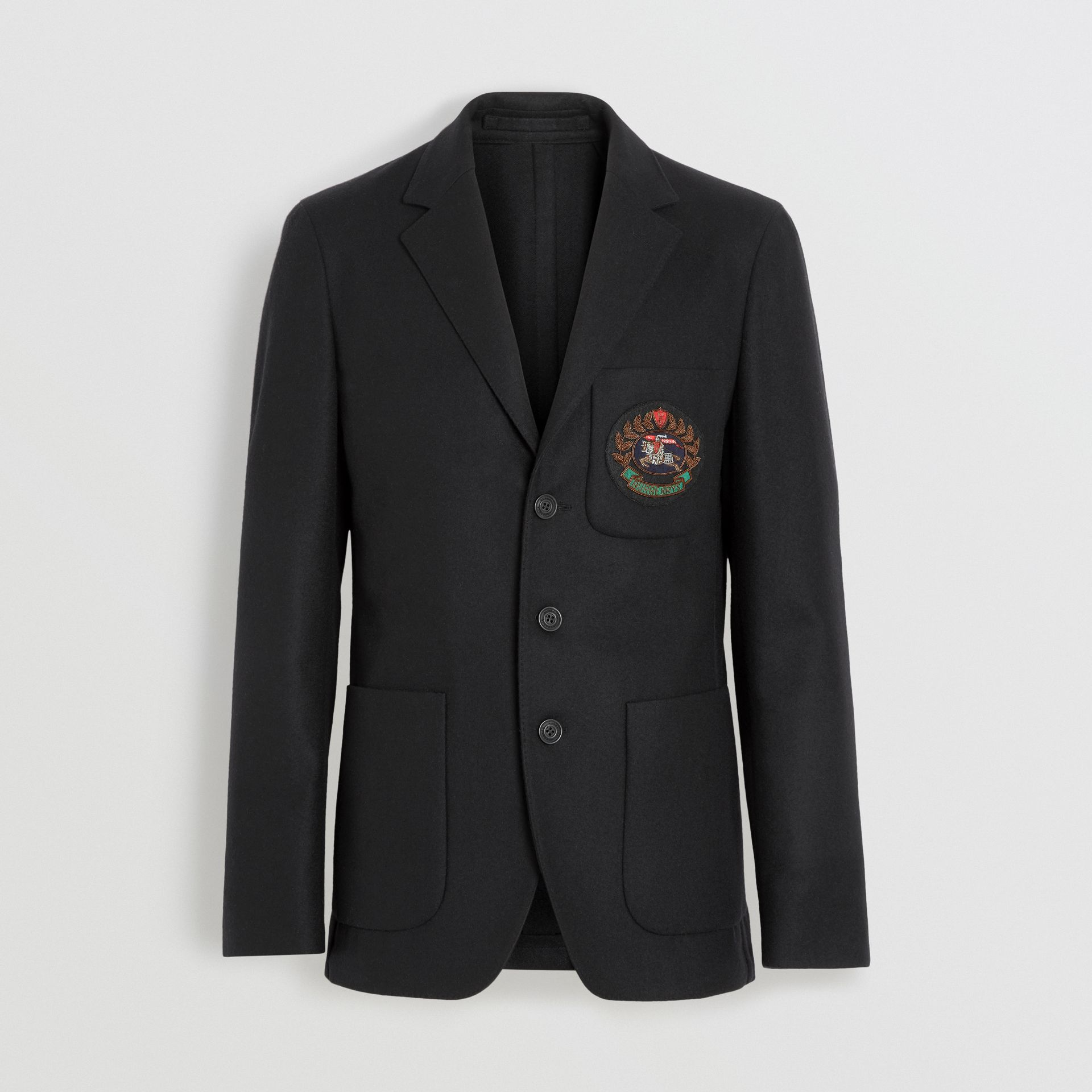 Slim Fit Embroidered Crest Wool Club Blazer in Black - Men | Burberry Australia - gallery image 3