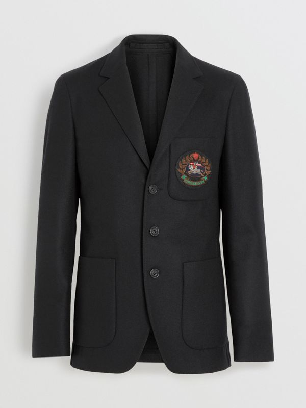 Slim Fit Embroidered Crest Wool Club Blazer in Black - Men | Burberry United States - cell image 3