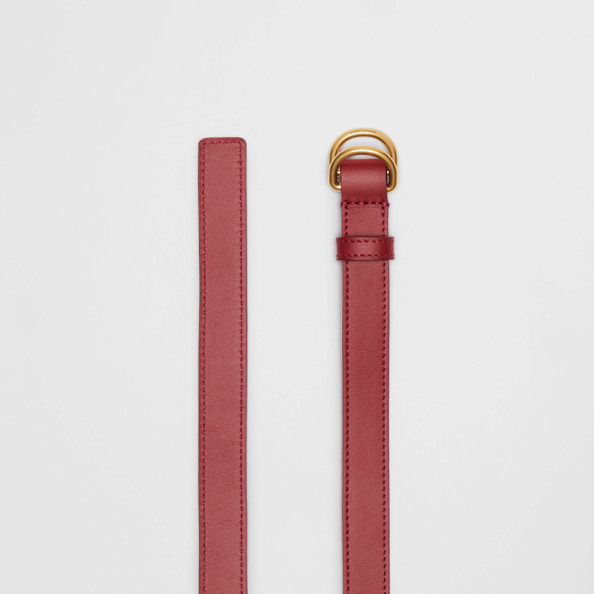 Slim Leather Double D-ring Belt in Crimson - Women | Burberry - gallery image 5