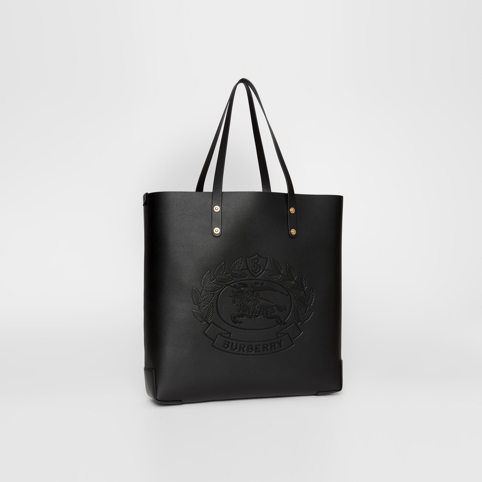 Large Embossed Crest Leather Tote in Black - Women | Burberry - gallery image 6