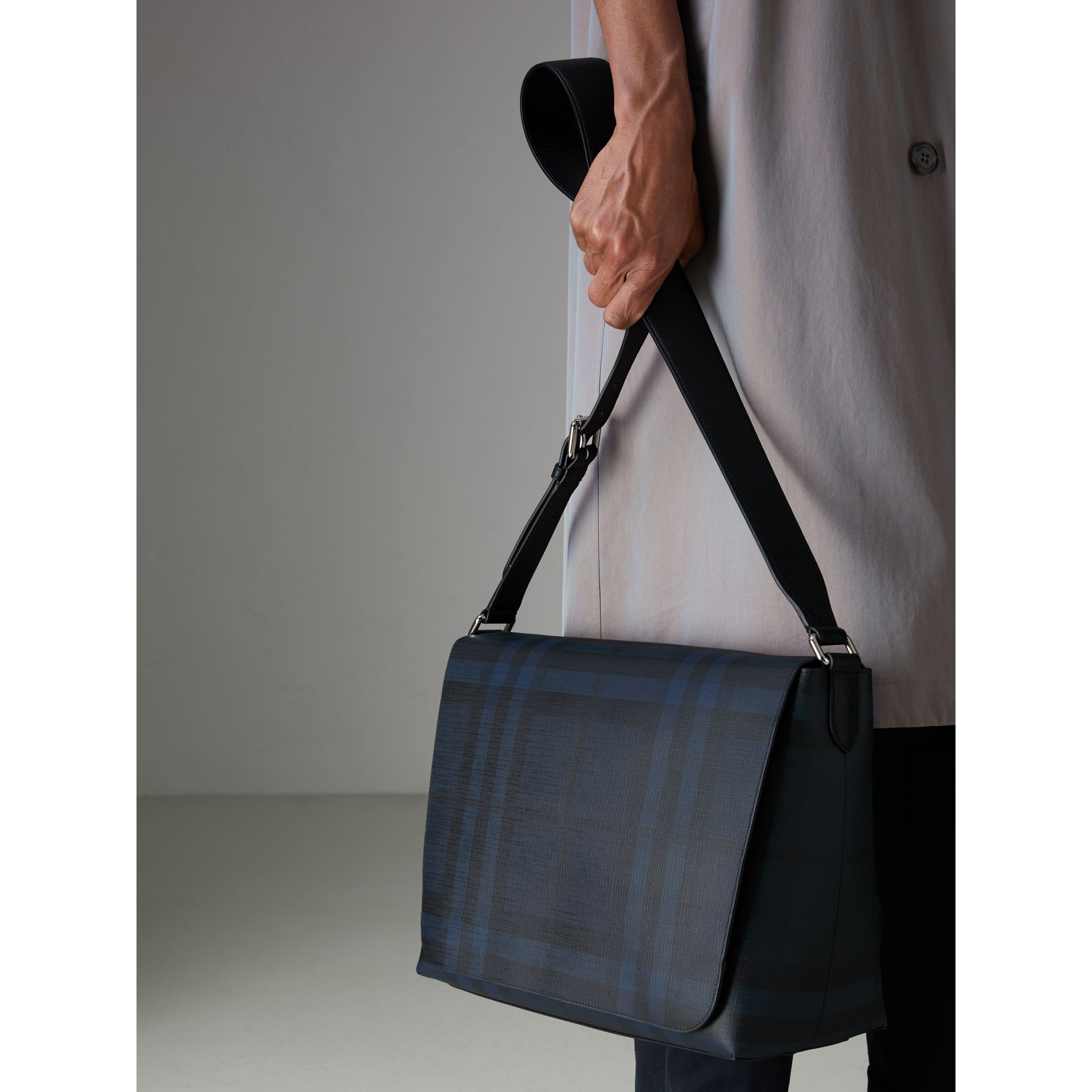 Large London Check Messenger Bag in Navy/black - Men | Burberry - gallery image 3