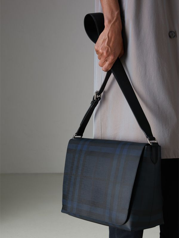 Large London Check Messenger Bag in Navy/black - Men | Burberry - cell image 3