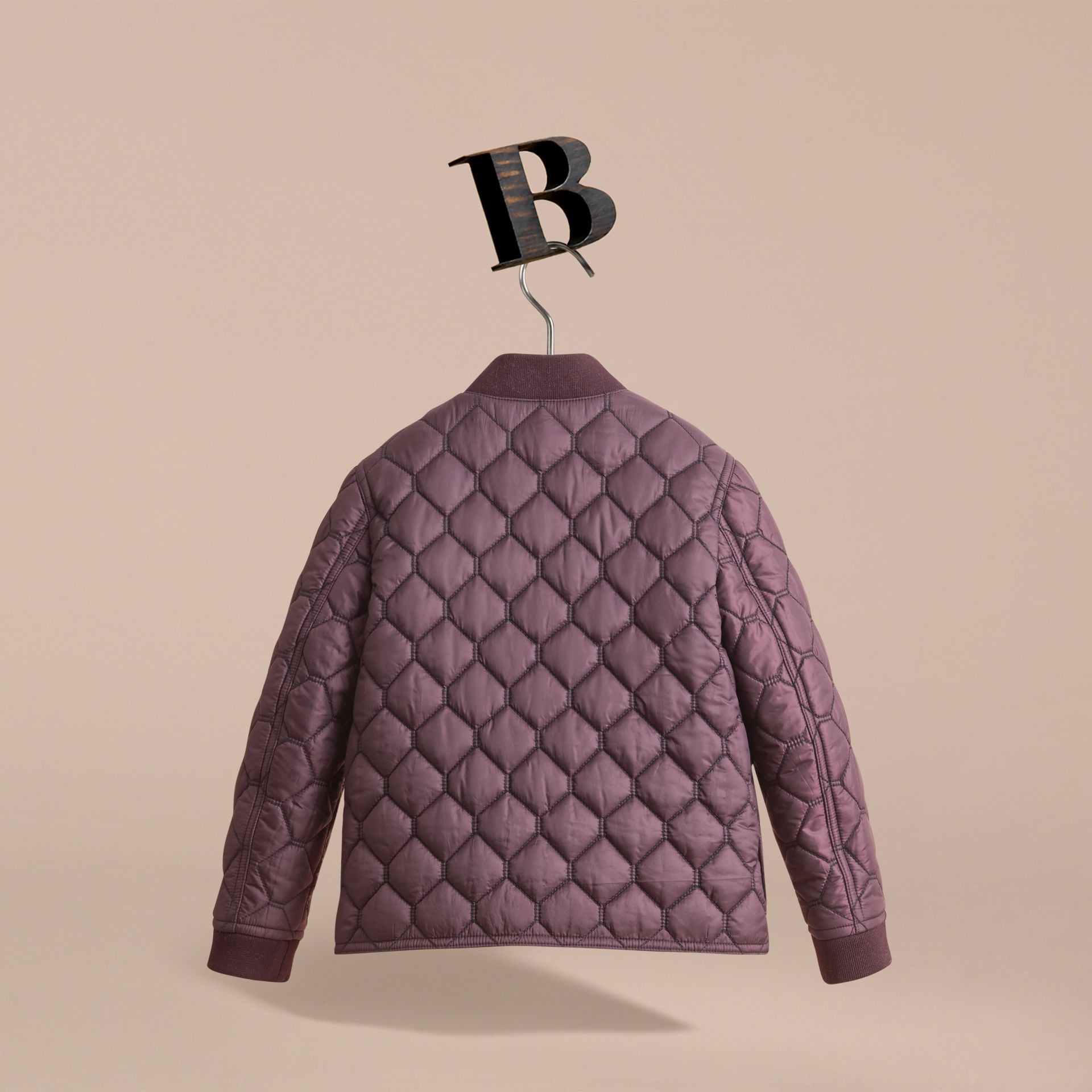 Contrast Topstitch Detail Quilted Jacket in Elderberry - Boy | Burberry - gallery image 4