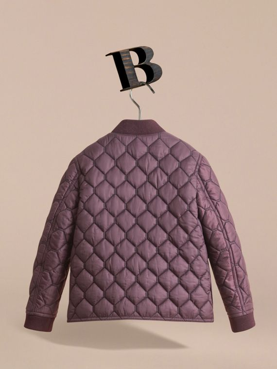 Contrast Topstitch Detail Quilted Jacket in Elderberry - Boy | Burberry - cell image 3