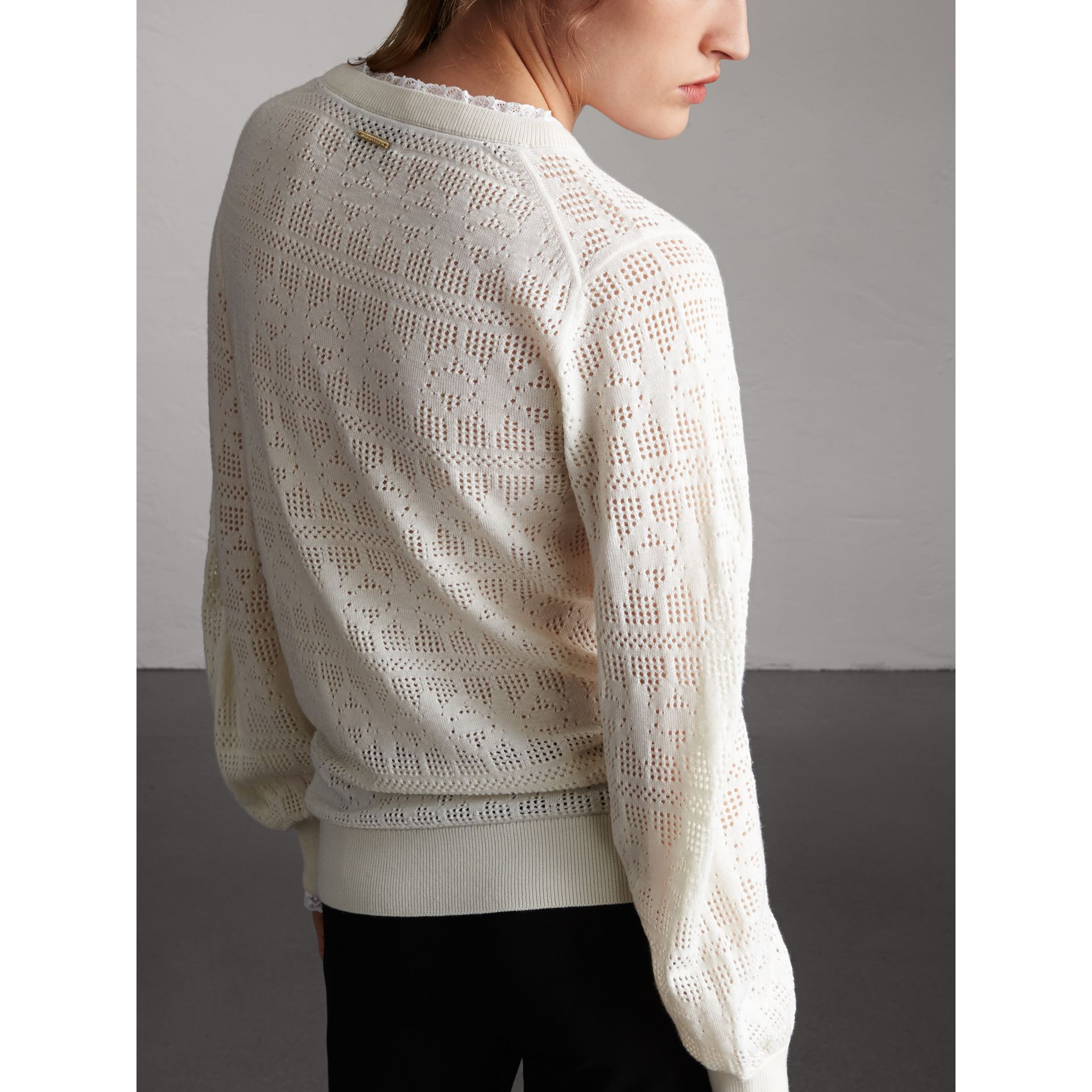 Lace Trim Pointelle Wool Cashmere Sweater in Natural White - Women | Burberry - gallery image 3