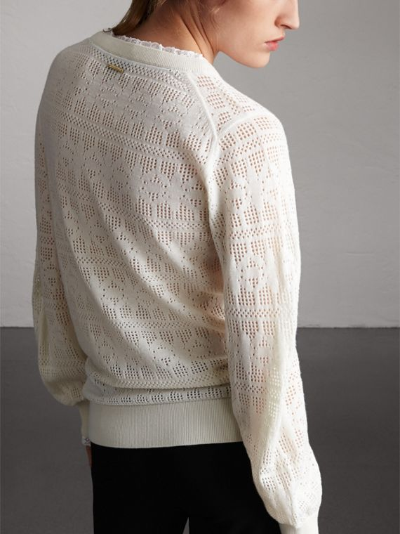 Lace Trim Pointelle Wool Cashmere Sweater in Natural White - Women | Burberry - cell image 2