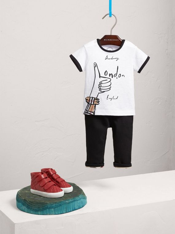 T-shirt in cotone con stampa London Icons (Bianco)