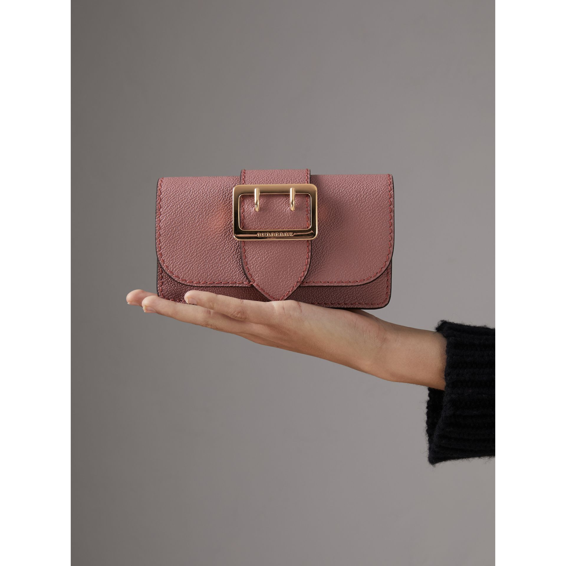 The Mini Buckle Bag in Grainy Leather in Dusty Pink - Women | Burberry - gallery image 10