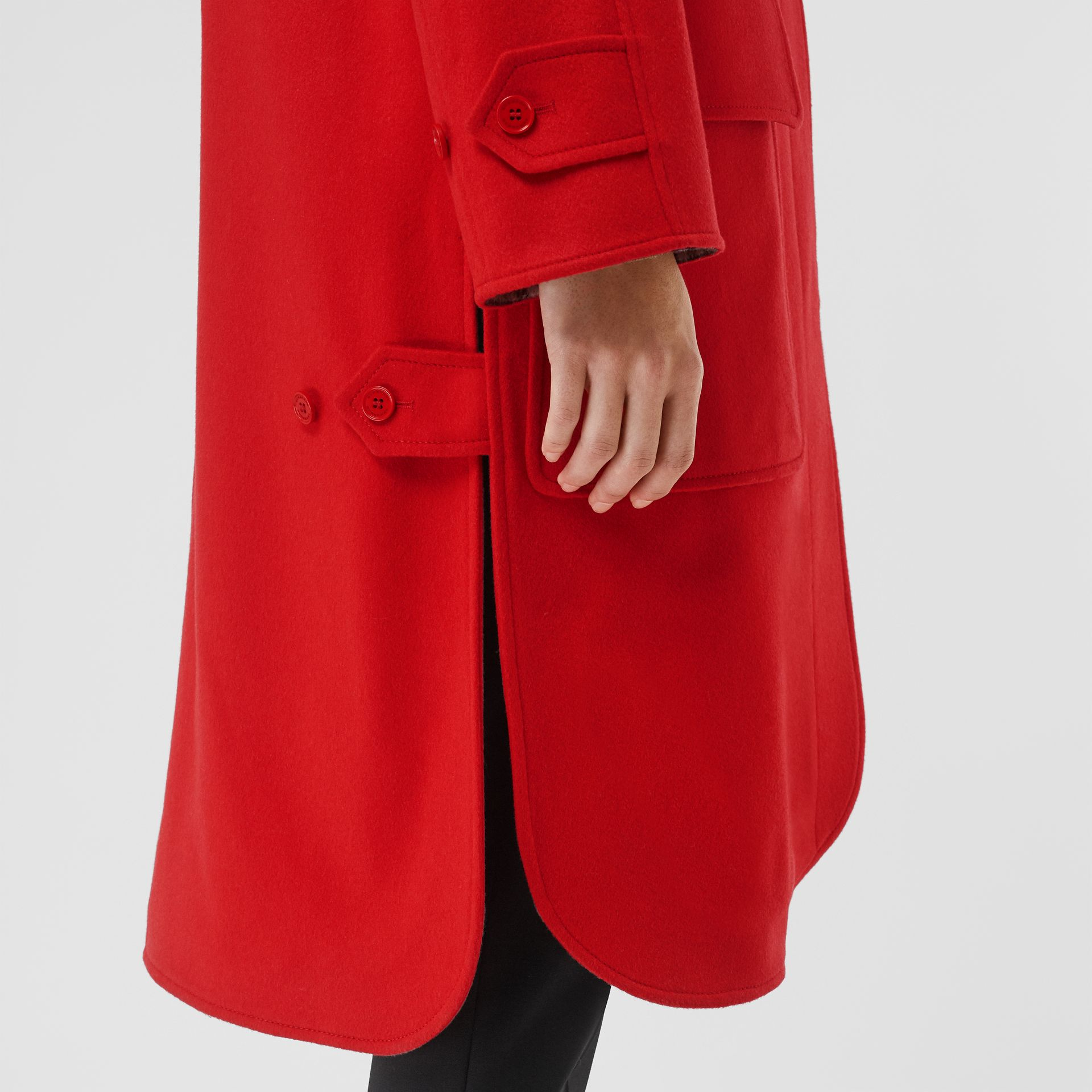 Cashmere Car Coat in Bright Red - Women | Burberry United Kingdom - gallery image 5