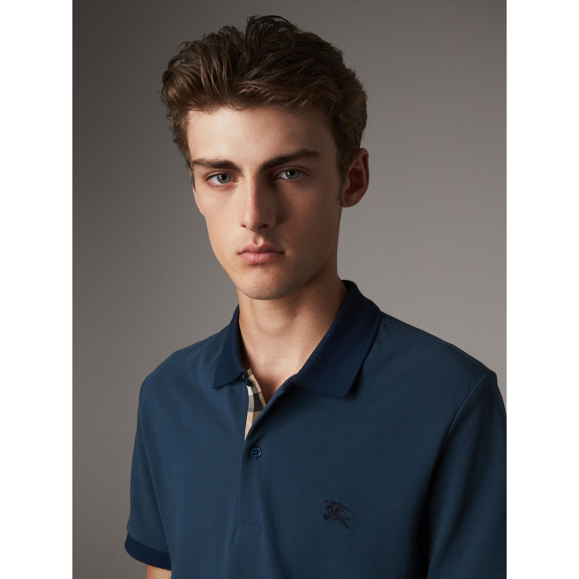 Cotton Piqué Polo Shirt in Canvas Blue - Men | Burberry - gallery image 1