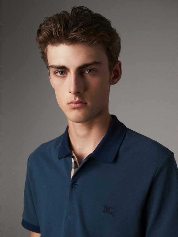 Camisa polo de algodão piquê (Azul Lona)