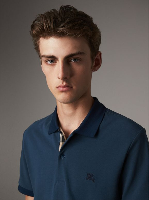 Cotton Piqué Polo Shirt in Canvas Blue - Men | Burberry - cell image 1