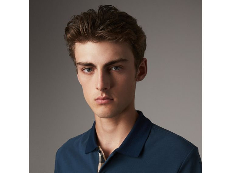 Cotton Piqué Polo Shirt in Canvas Blue - Men | Burberry Singapore - cell image 1