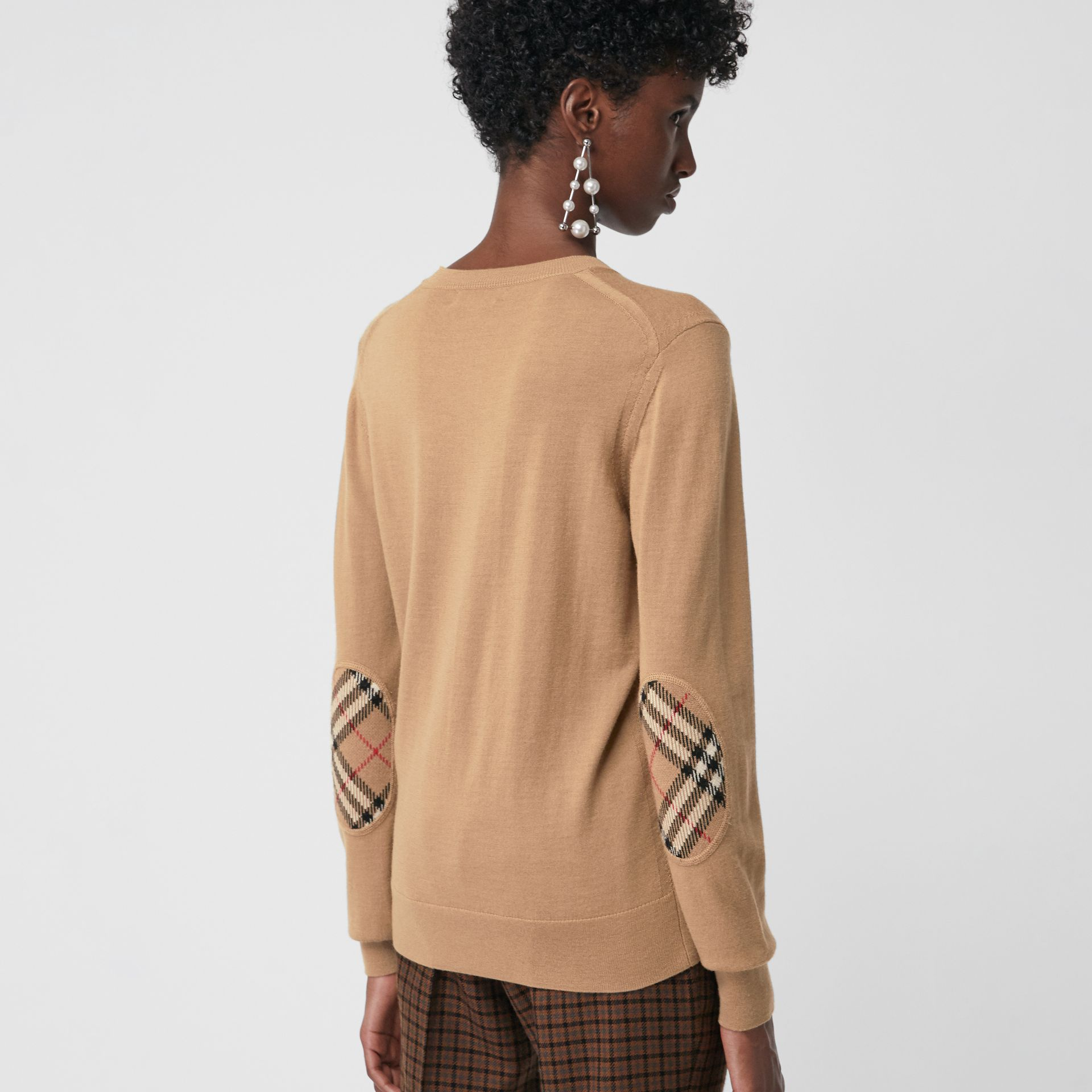 Vintage Check Detail Merino Wool Sweater in Camel - Women | Burberry - gallery image 2