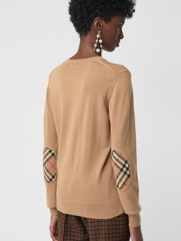 Vintage Check Detail Merino Wool Sweater in Camel - Women | Burberry Australia - cell image 2