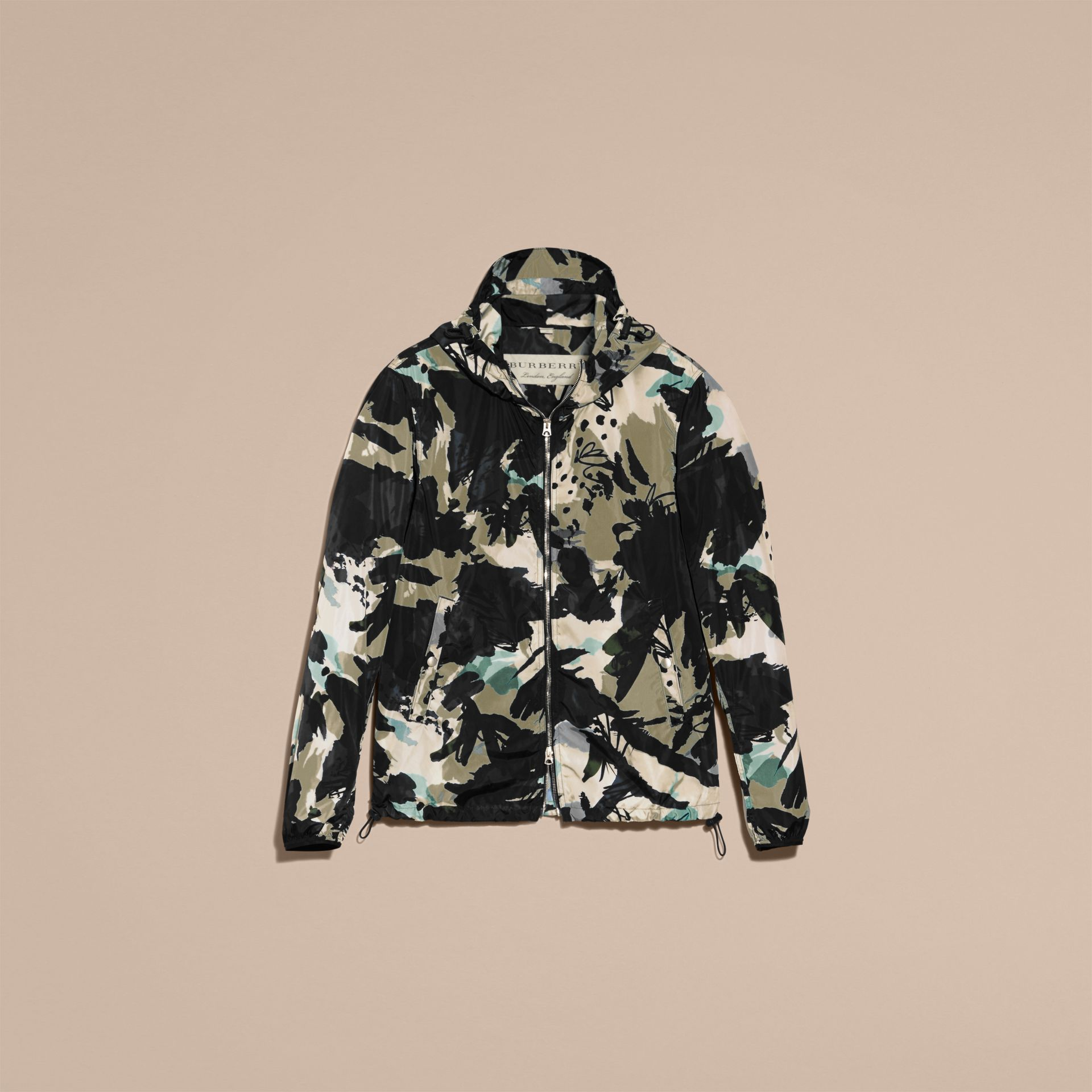 Bright navy Hooded Abstract Floral Print Showerproof Jacket - gallery image 4