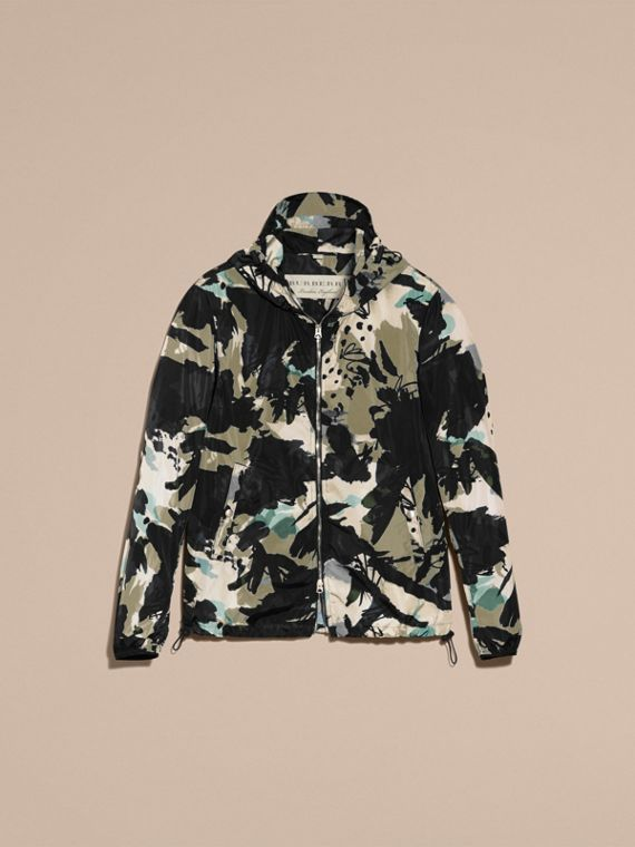 Bright navy Hooded Abstract Floral Print Showerproof Jacket - cell image 3