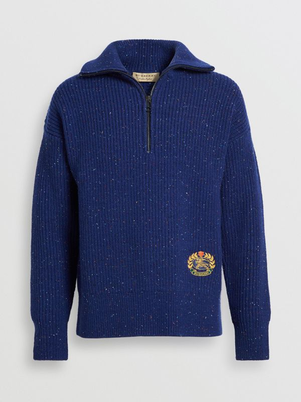 Rib Knit Wool Cashmere Blend Half-zip Sweater in Navy - Men | Burberry Canada - cell image 3
