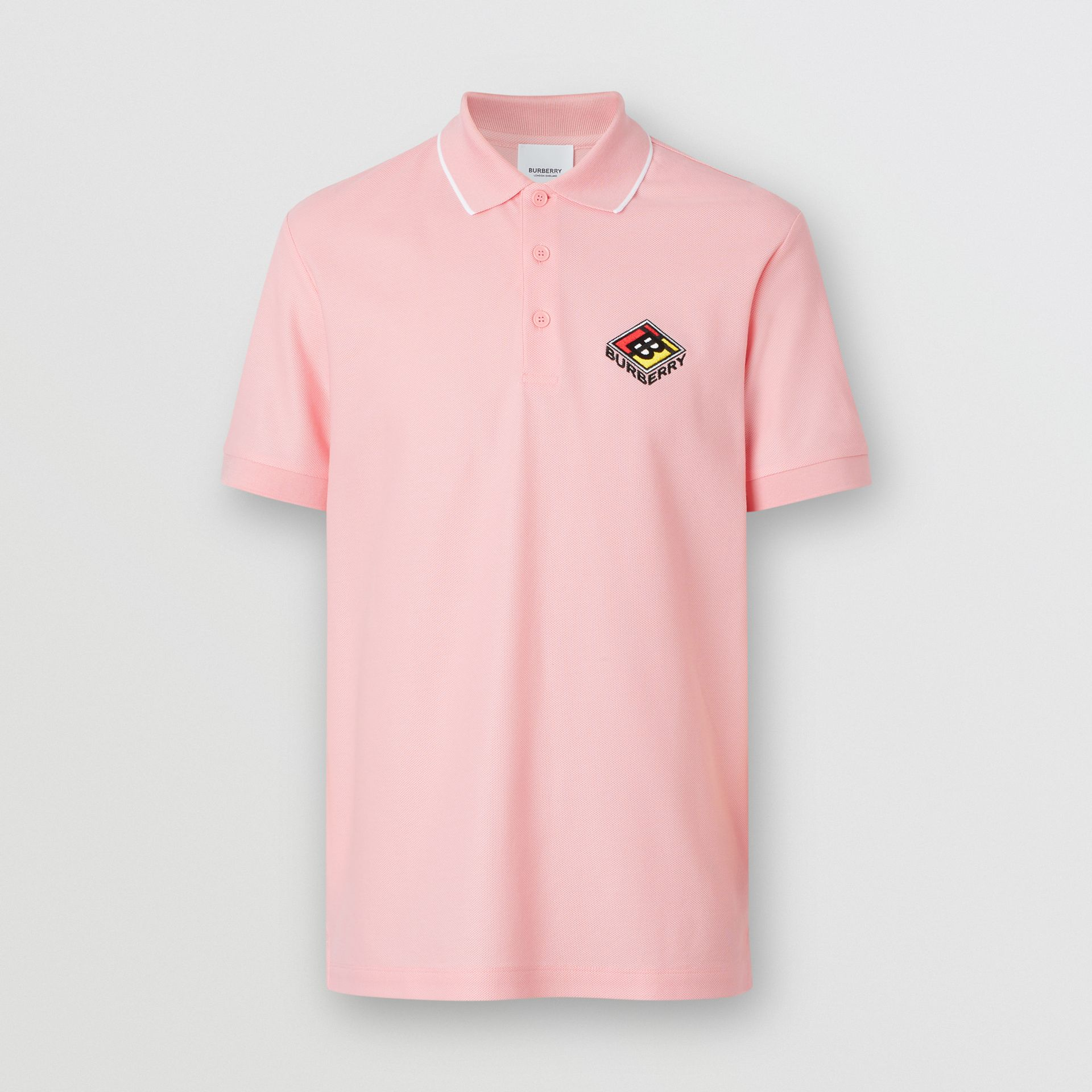 Logo Graphic Cotton Piqué Polo Shirt in Candy Pink - Men | Burberry - gallery image 3