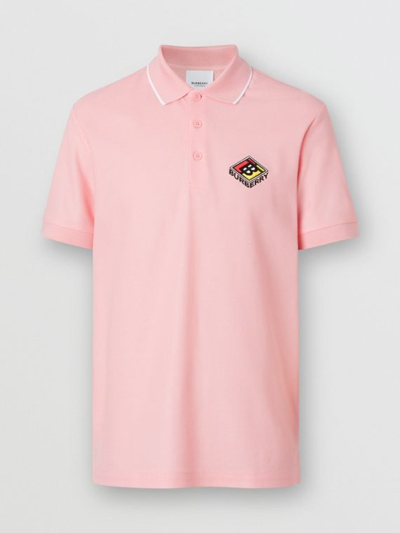 Logo Graphic Cotton Piqué Polo Shirt in Candy Pink