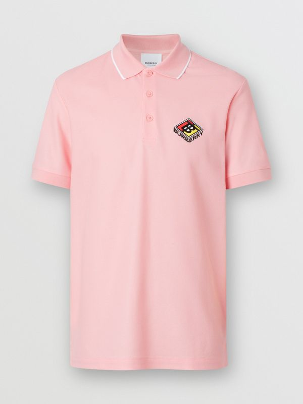 Logo Graphic Cotton Piqué Polo Shirt in Candy Pink - Men | Burberry Hong Kong S.A.R - cell image 3