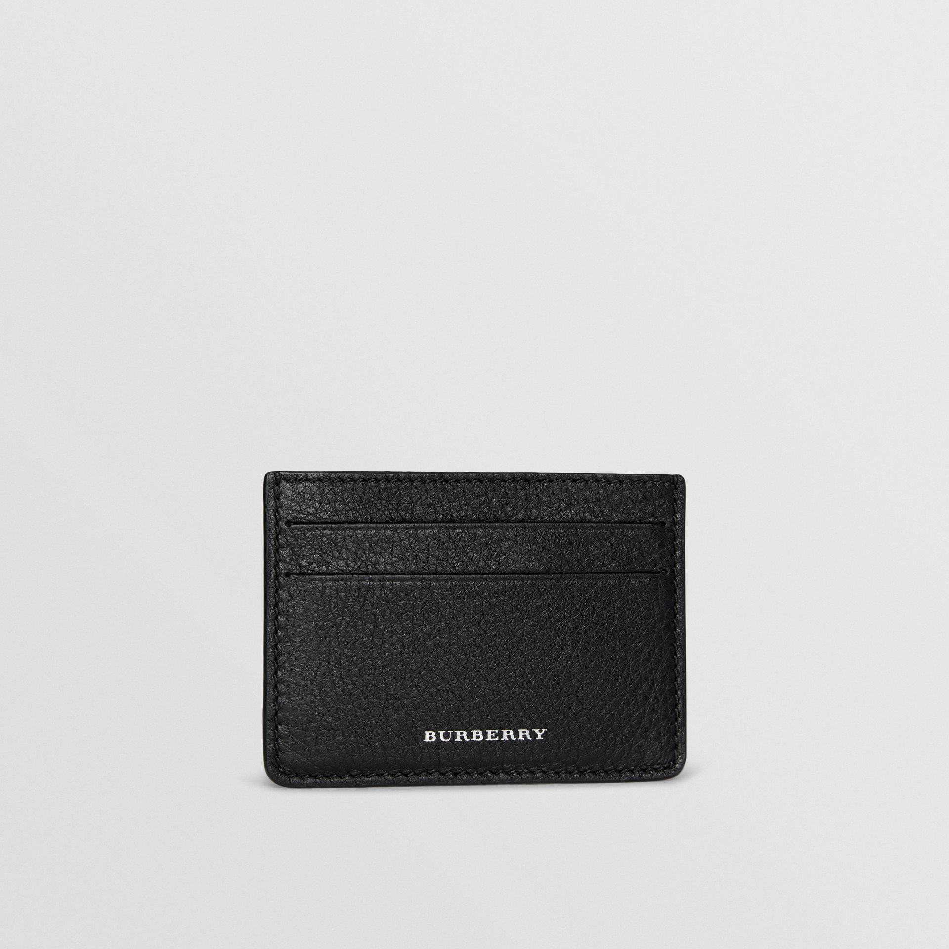 Grainy Leather Card Case in Black - Men | Burberry - gallery image 3