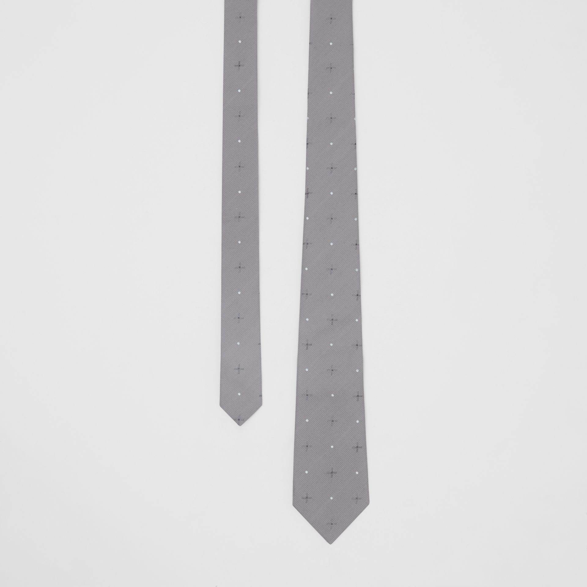 Classic Cut Graphic Silk Wool Jacquard Tie in Mid Grey - Men | Burberry United States - gallery image 0