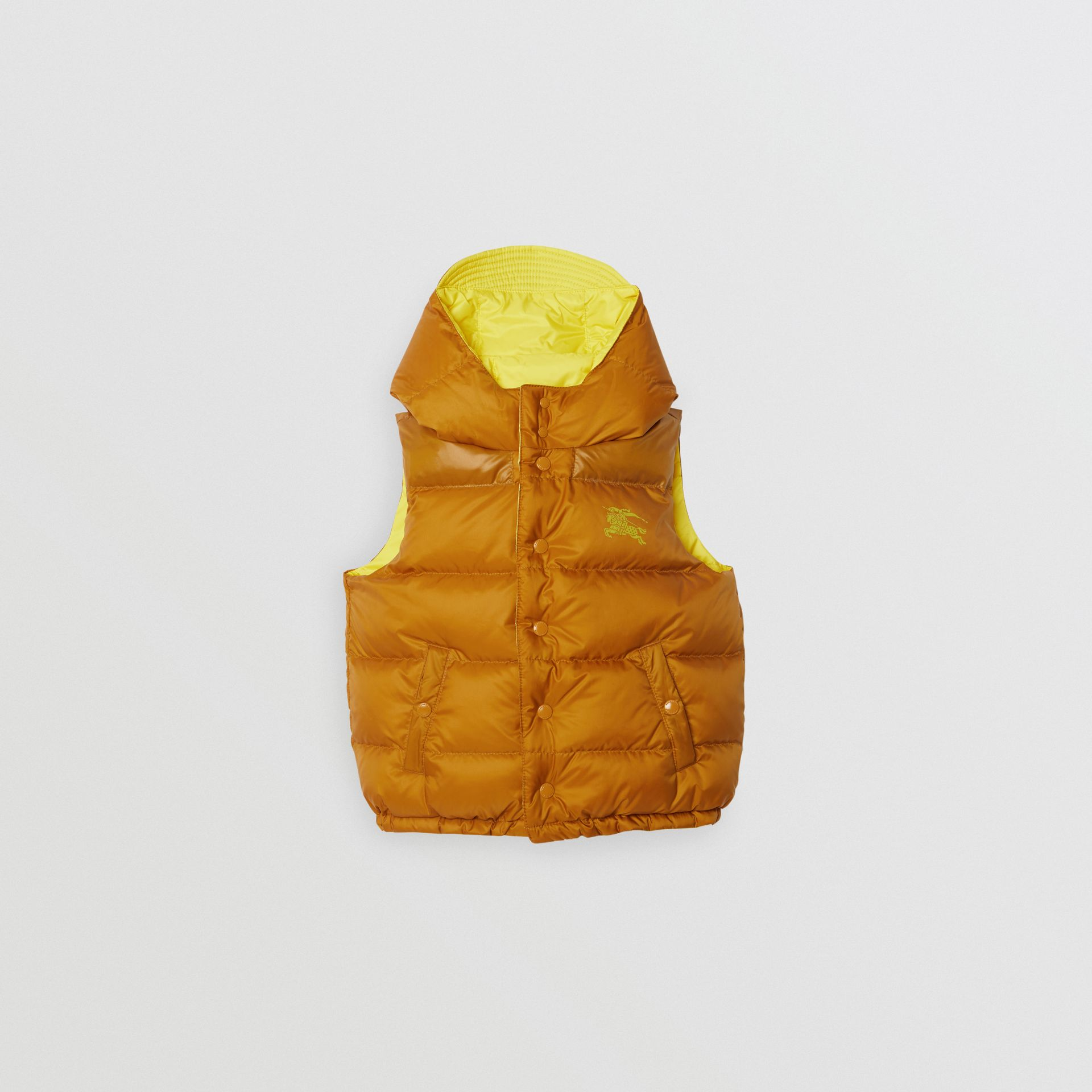 Reversible Showerproof Down-filled Hooded Gilet in Citrus Yellow | Burberry Australia - gallery image 3