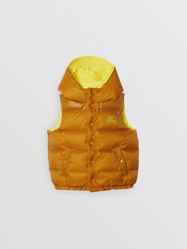 Reversible Showerproof Down-filled Hooded Gilet in Citrus Yellow | Burberry Australia - cell image 3