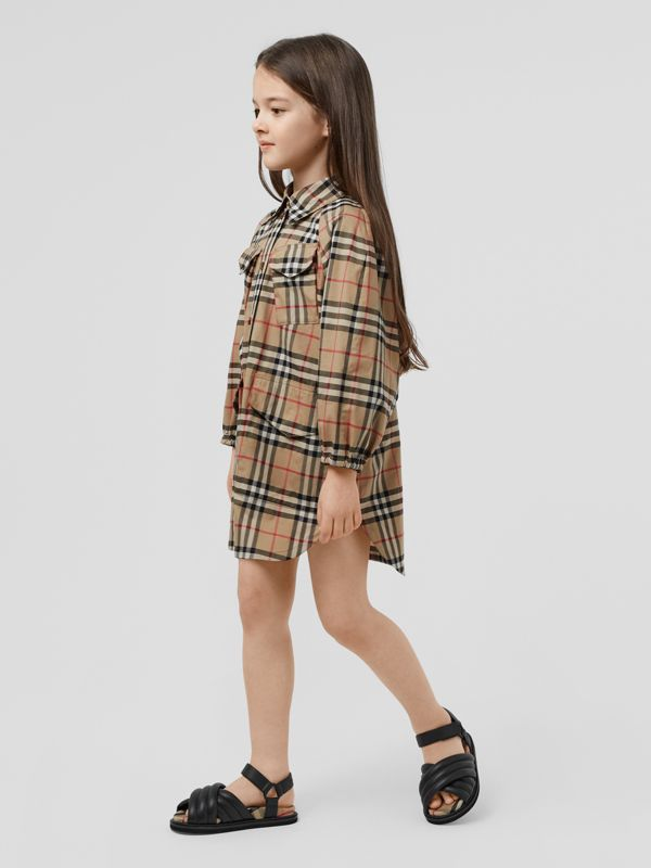Vintage Check Cotton Shirt Dress in Archive Beige | Burberry Canada - cell image 2